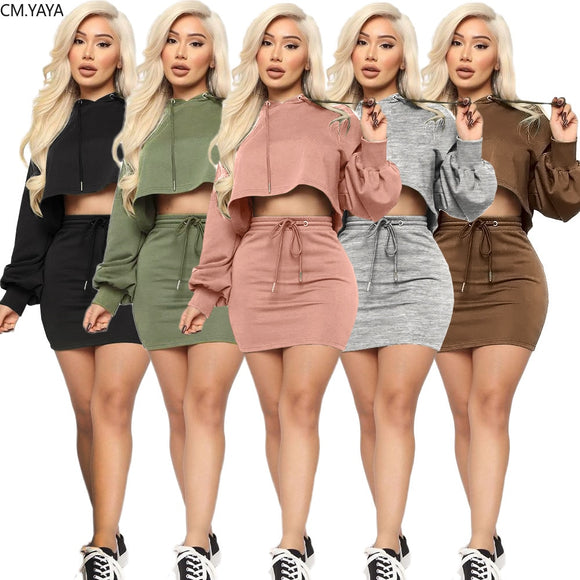 Hooded Midi Bodycon Two Piece Sets