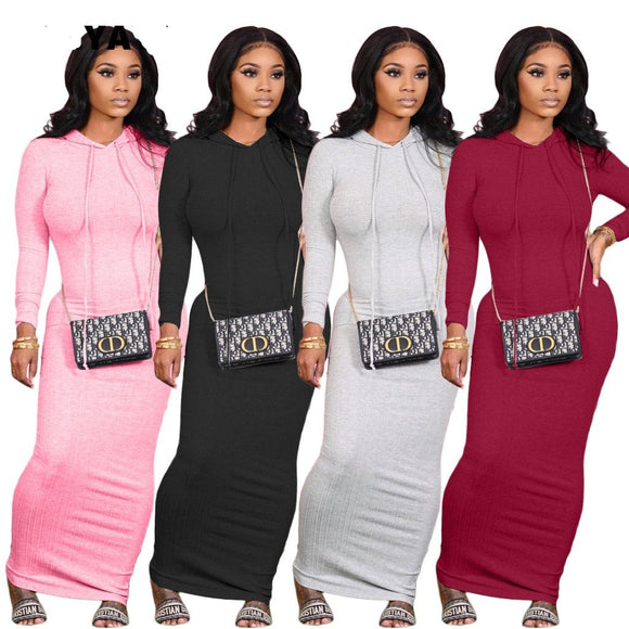 Long Sleeve Hooded Maxi Dresses