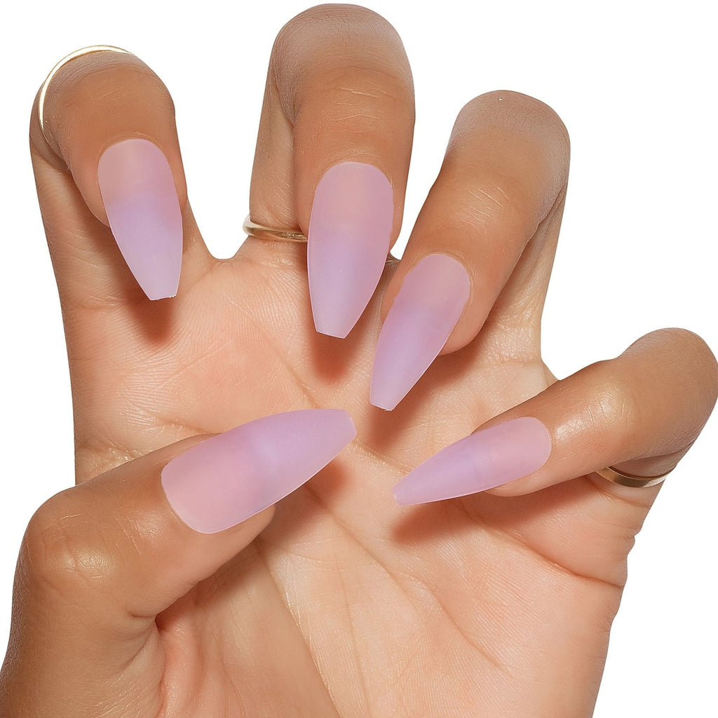 Tres She Instant Acrylics Nails Thong Song Matte Purple Sea Glass