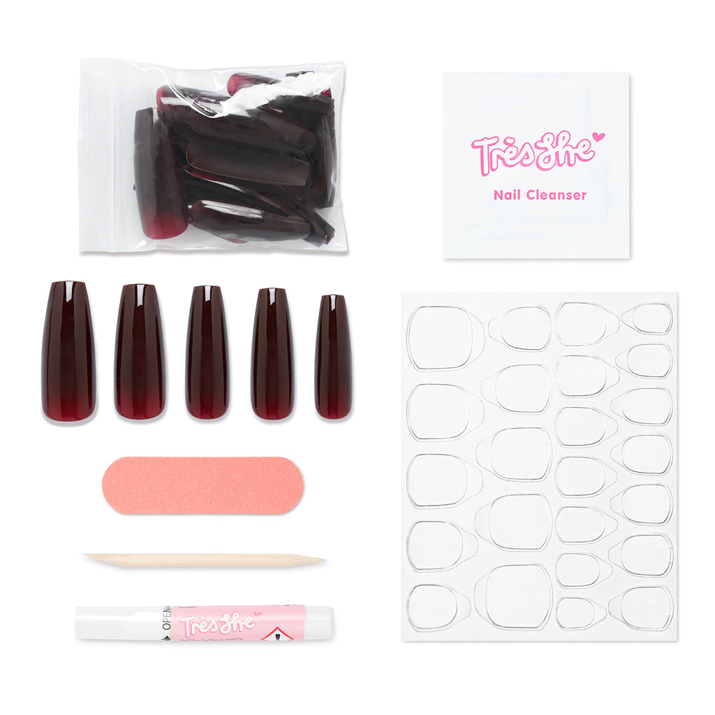 Pack contents of Cherry Cola nails in coffin shape, ultra long nails. Contains 24 nails, alcohol cleansing wipe, buffer, cuticle pusher, glue and nail tabs