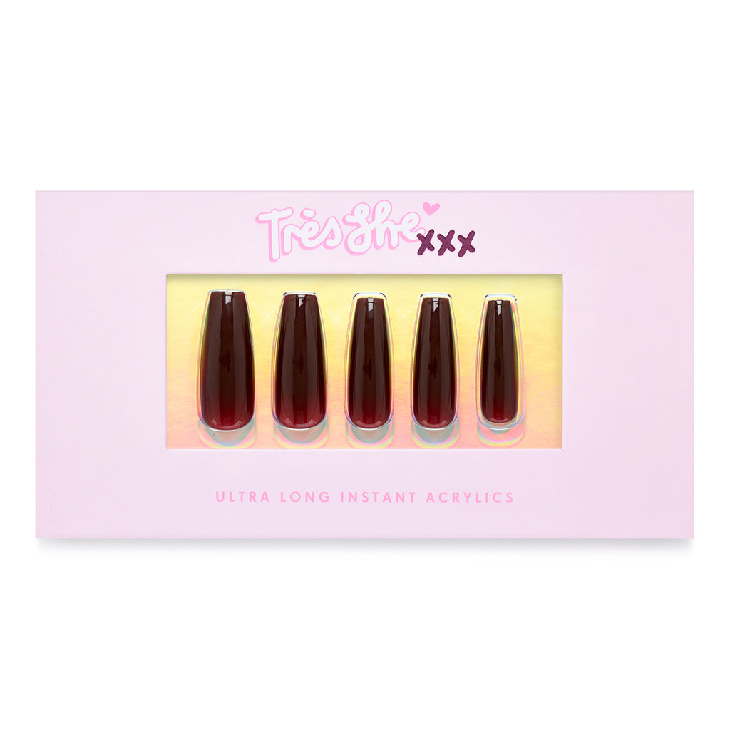 Tres She pink product box with Cherry Cola nails in coffin shape, ultra long length