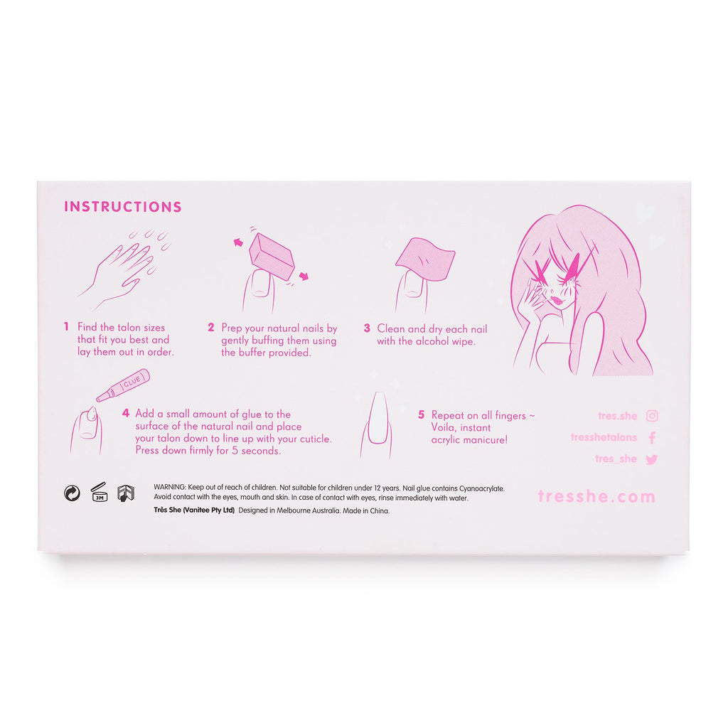 Très She five-step acrylic nail application instructions on back of product box