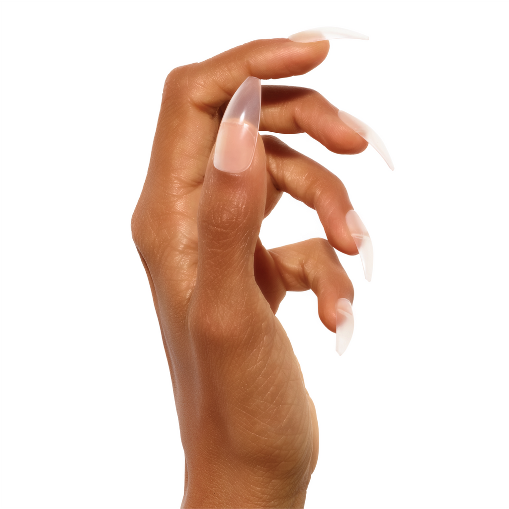 Side view of hand modelling see-through Très She Crystal clear acrylic press on nails