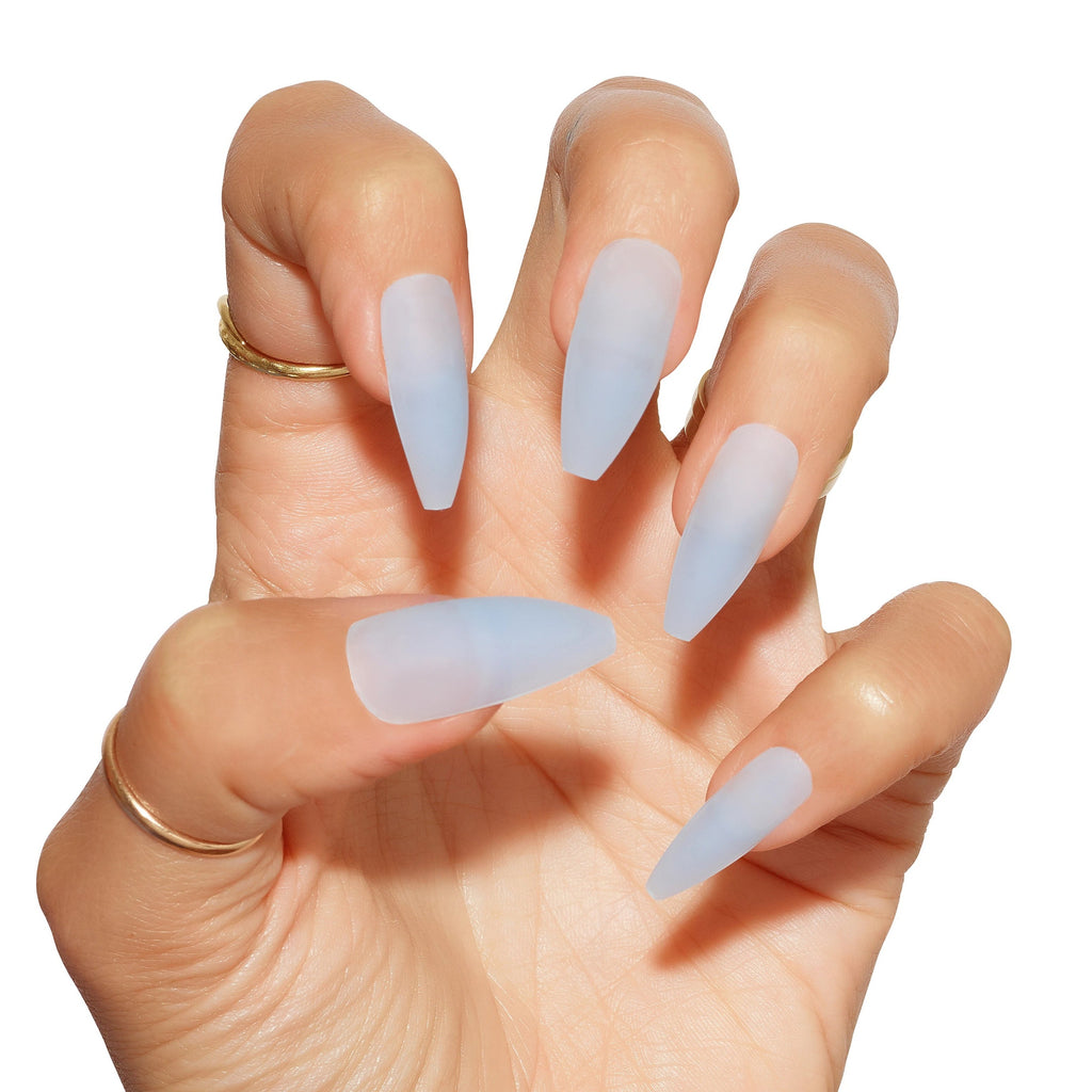 Sea Glass Matte Blue Press On Nails