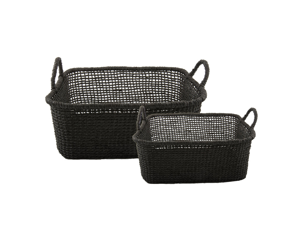Black wicker baskets CARRE (set of 2)