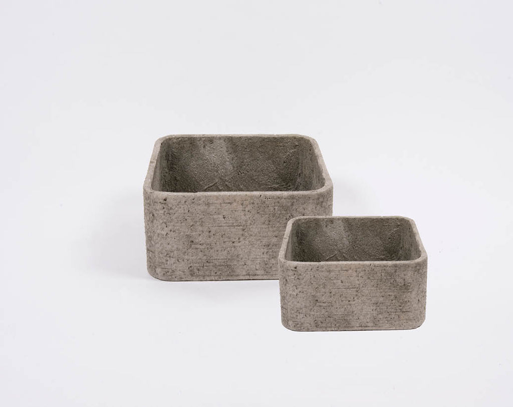 D&M ROUGH square pot - set of two