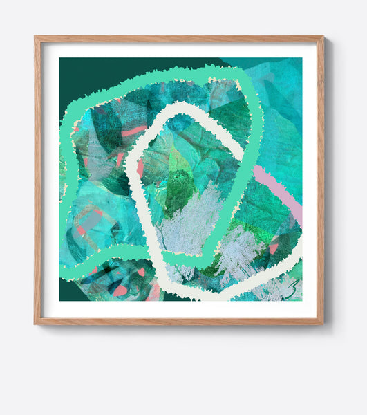 Emerald Tropical Weave Framed Print