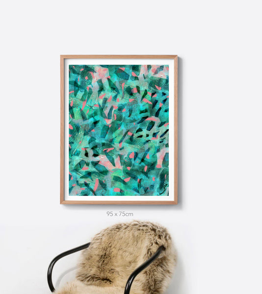 The Emerald Tropical Camo Framed Print in Portrait or Square