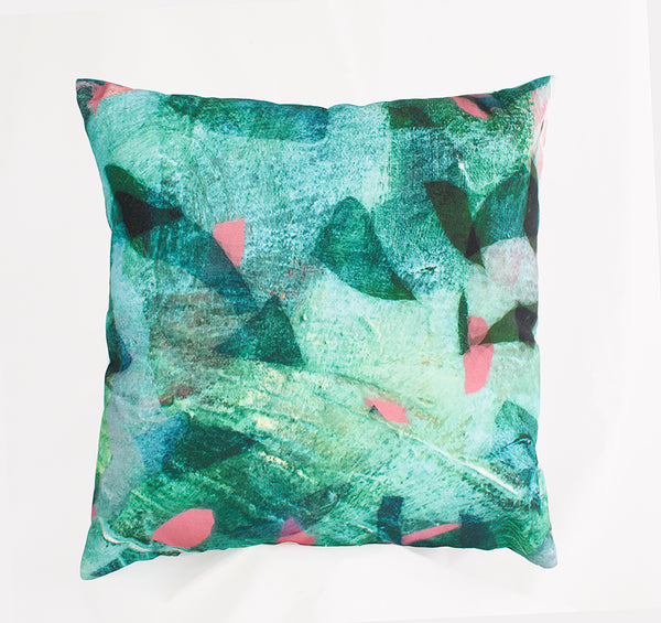 Emerald Tropical Camo Print Cushion Cover