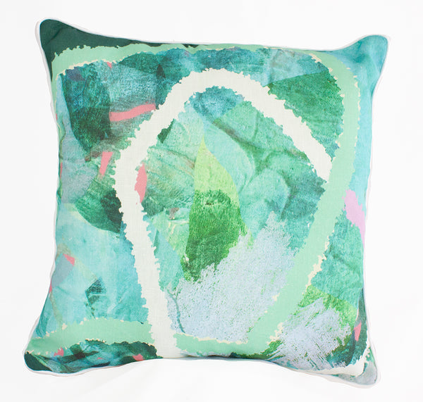 Emerald Tropical Weave 100% Linen Cushion Cover