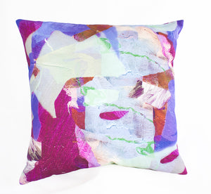 Purple Tropical Camo Print Cushion Cover