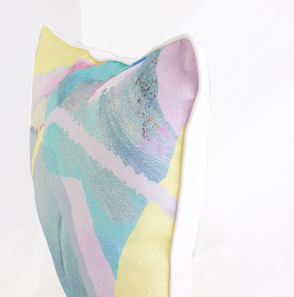 Pastel Tropical Flow 100% Linen Cushion Cover