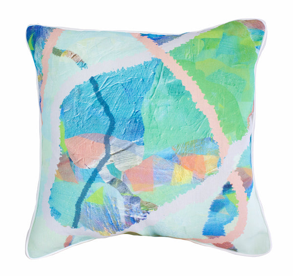 Water Tropical Weave 100% Linen Cushion Cover