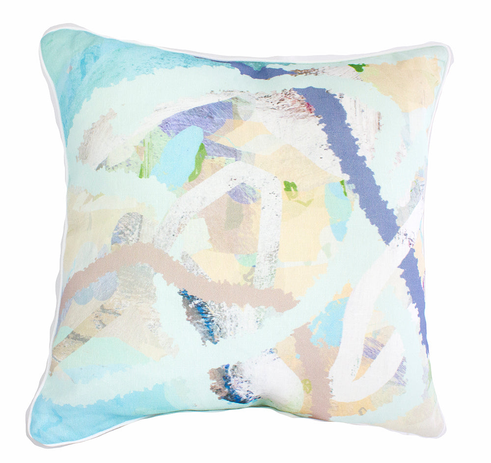 Aqua Woven Line 100% Linen Cushion Cover