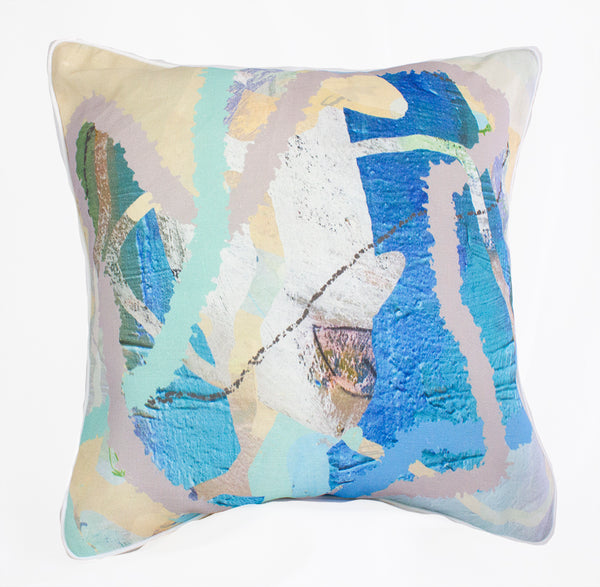 Aqua Tropical Weave 100% Linen Cushion Cover