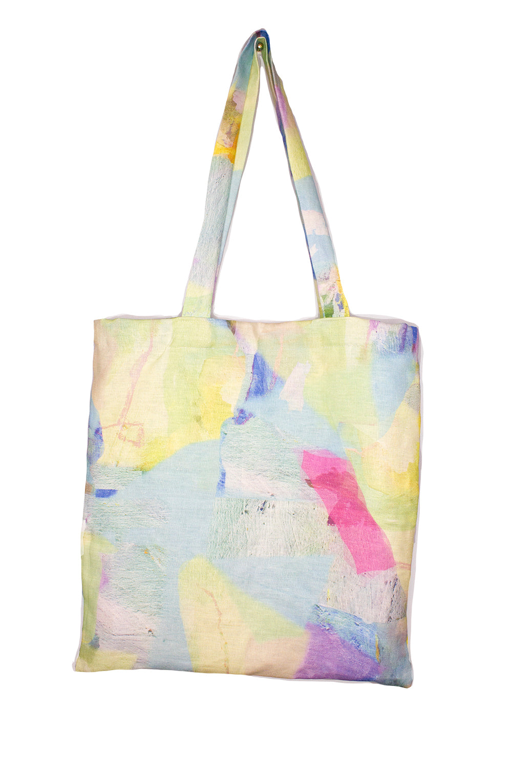 Organic Linen Tote in Pastel Tropical Camo Print