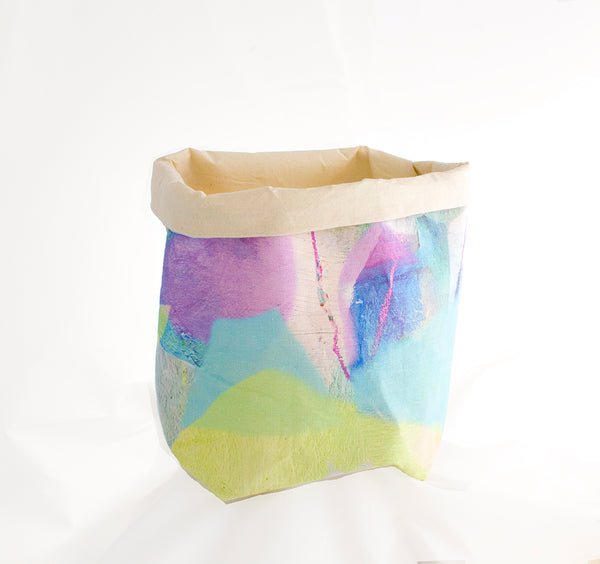 Large Fabric Basket in Tropical Camo Pastel Print