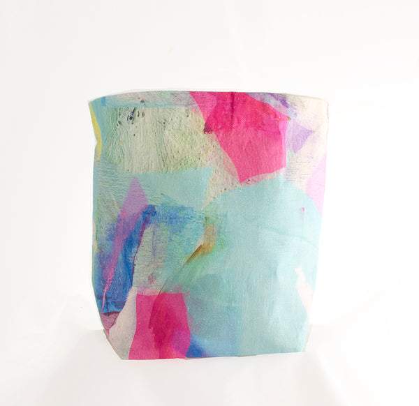 Medium Fabric Basket in Pastel Tropical Camo Print
