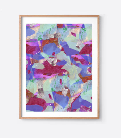 The Purple Tropical Camo Framed Print in Portrait or Square