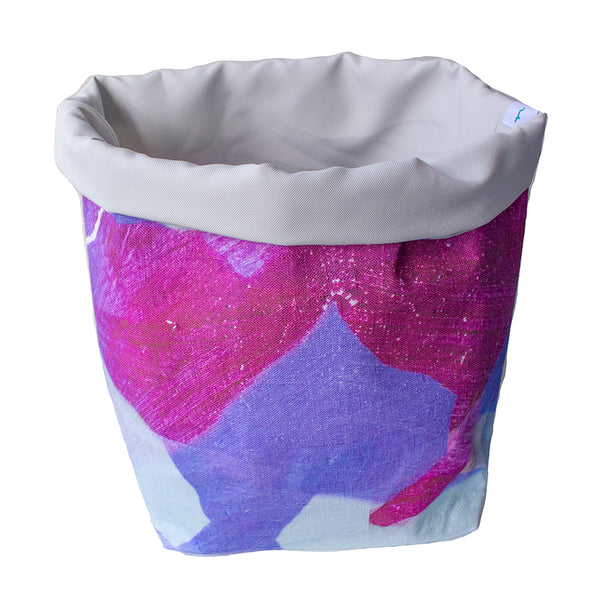 X-Large Fabric Basket in Purple Tropical Print