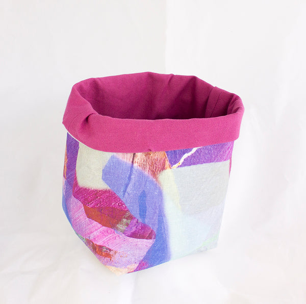 Medium Fabric Basket in Tropical Camo Purple Print
