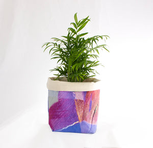 Small Fabric Basket in Purple Tropical Camo Print