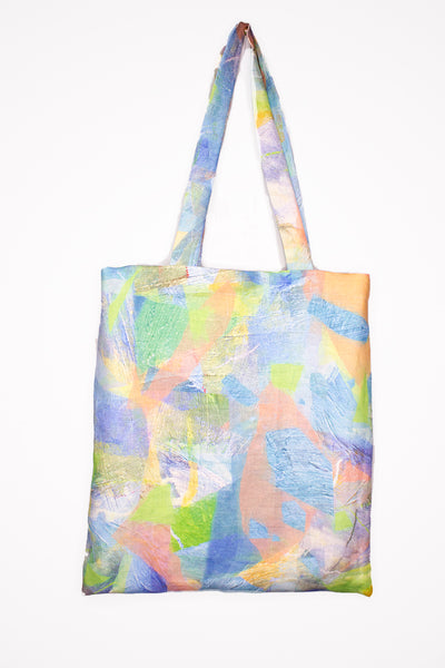 Organic Linen Tote in Water Tropical Camo Print