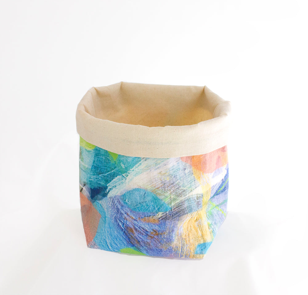 Small Fabric Basket in Water Tropical Camo Print