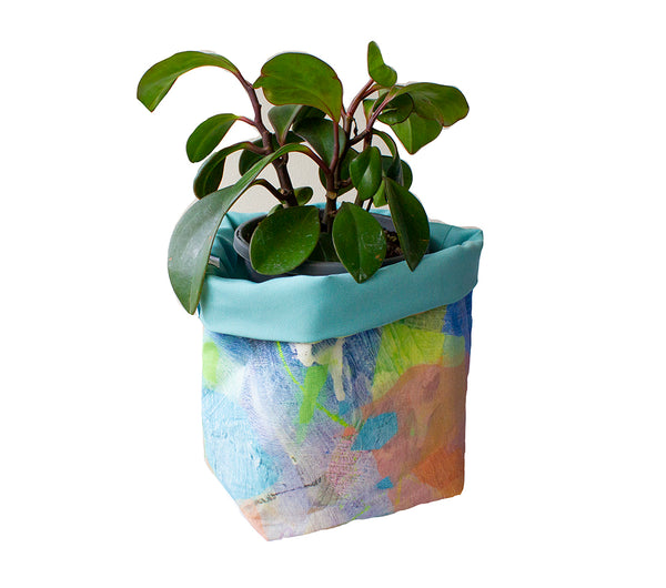 Small Fabric Basket in Water Tropical Camo Print & Blue