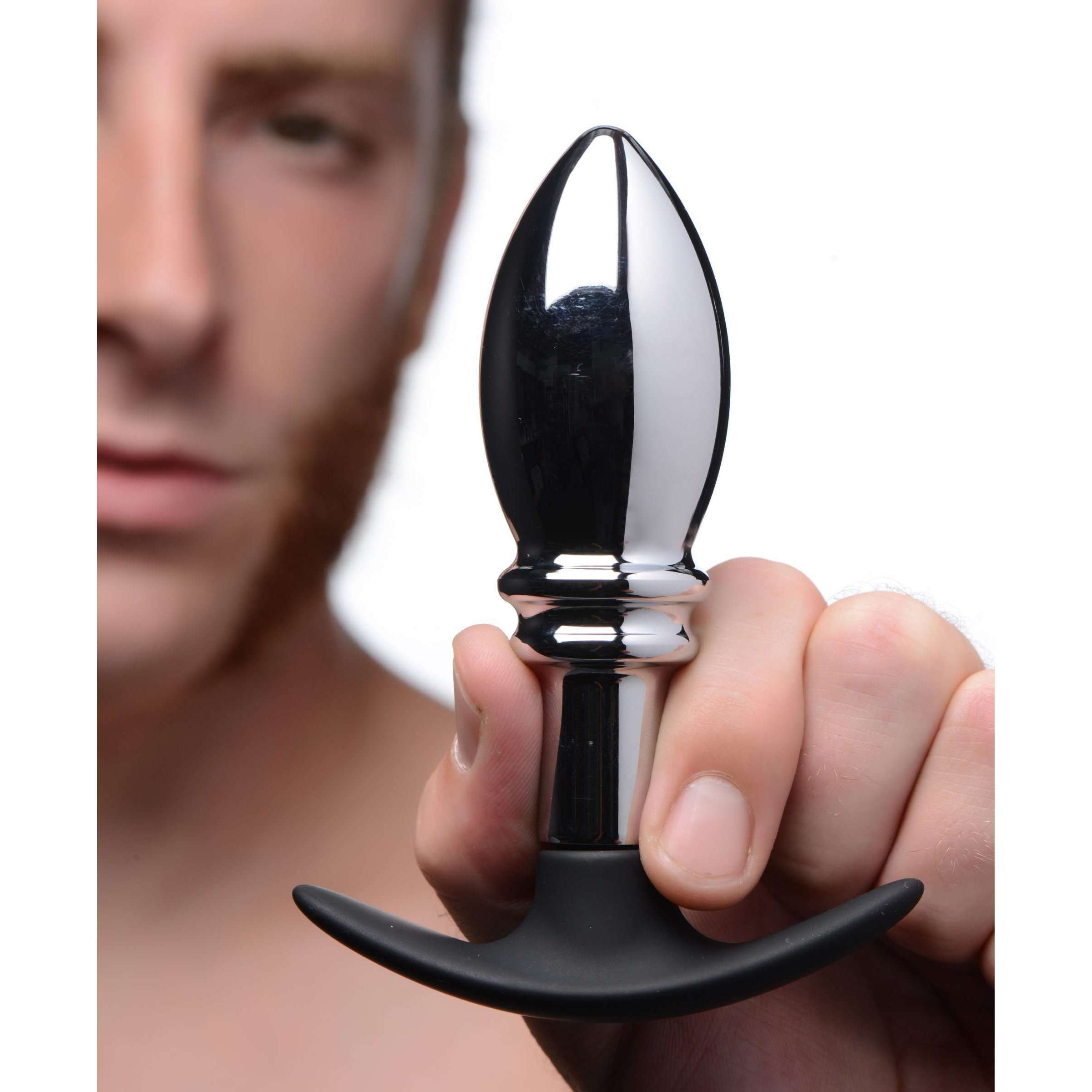 Dark Stopper Metal and Silicone Anal Plug