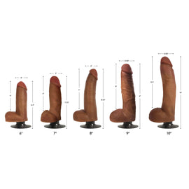 Jock Dark Bareskin Vibrating Dildo with Balls - 8 Inch