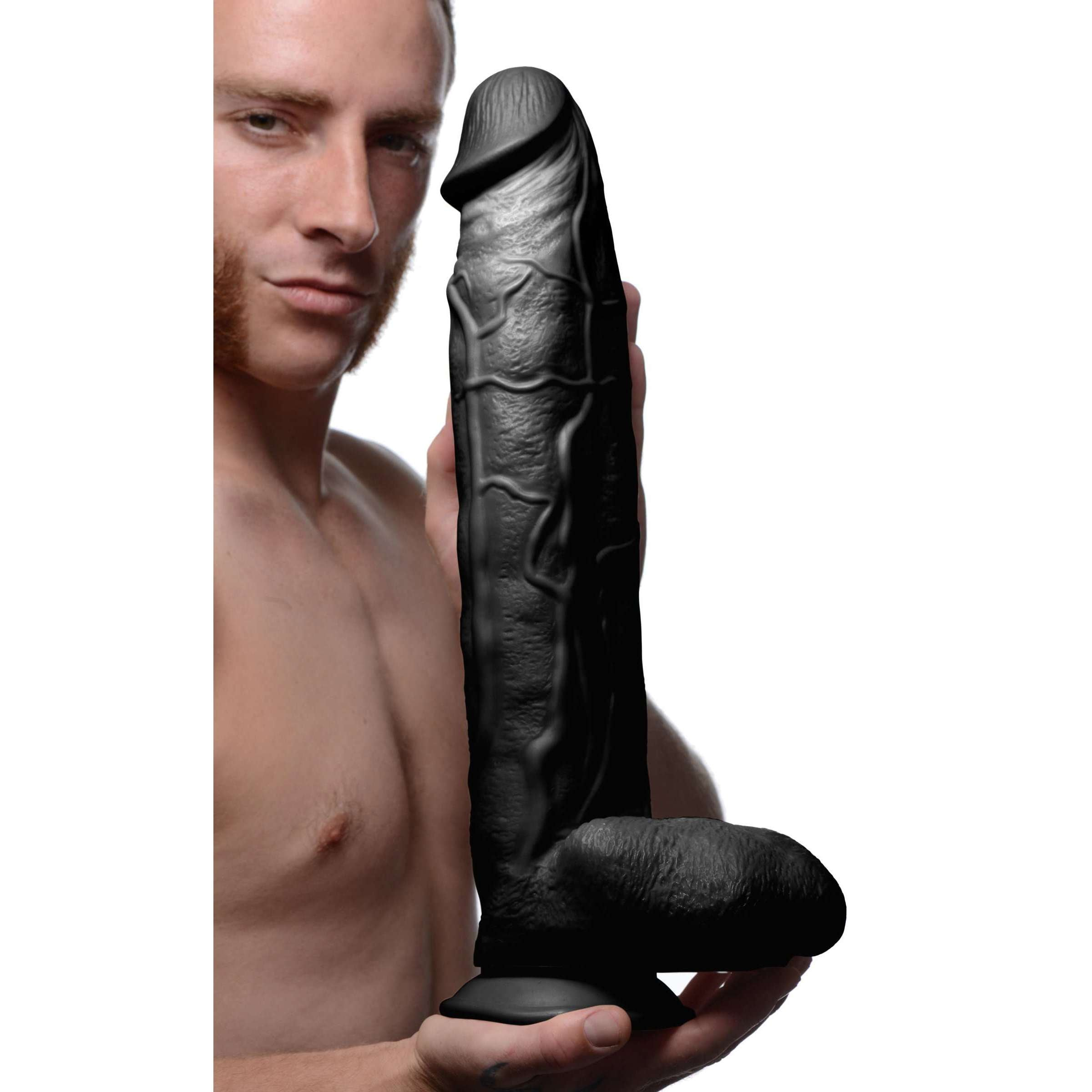 Raging Rhino 17 Inch Veiny Dildo - Black
