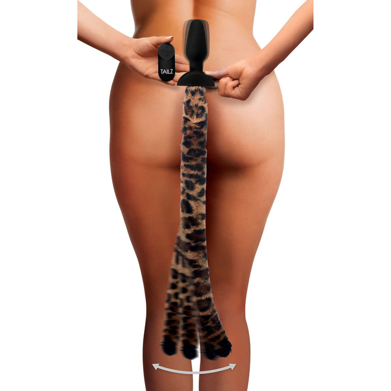 Remote Control Wagging Leopard Tail Anal Plug and Ears Set