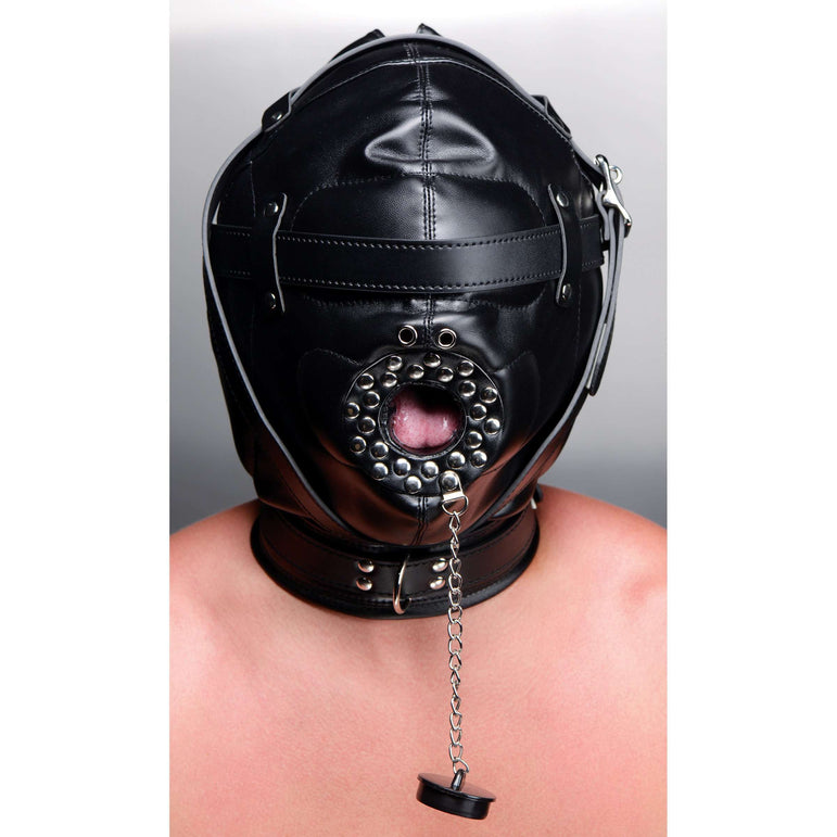 Sensory Deprivation Hood with Open Mouth Gag