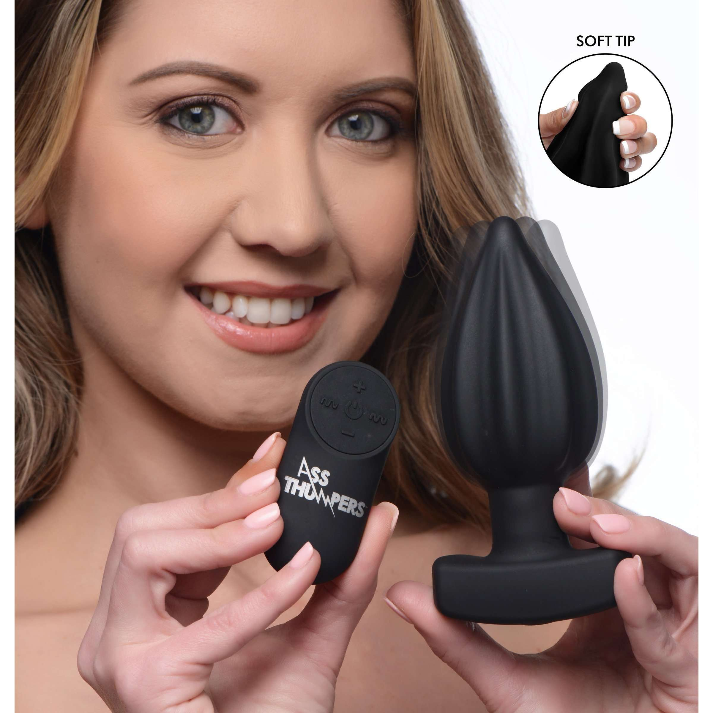 The Assterisk 10X Ribbed Silicone Remote Control Vibrating Butt Plug