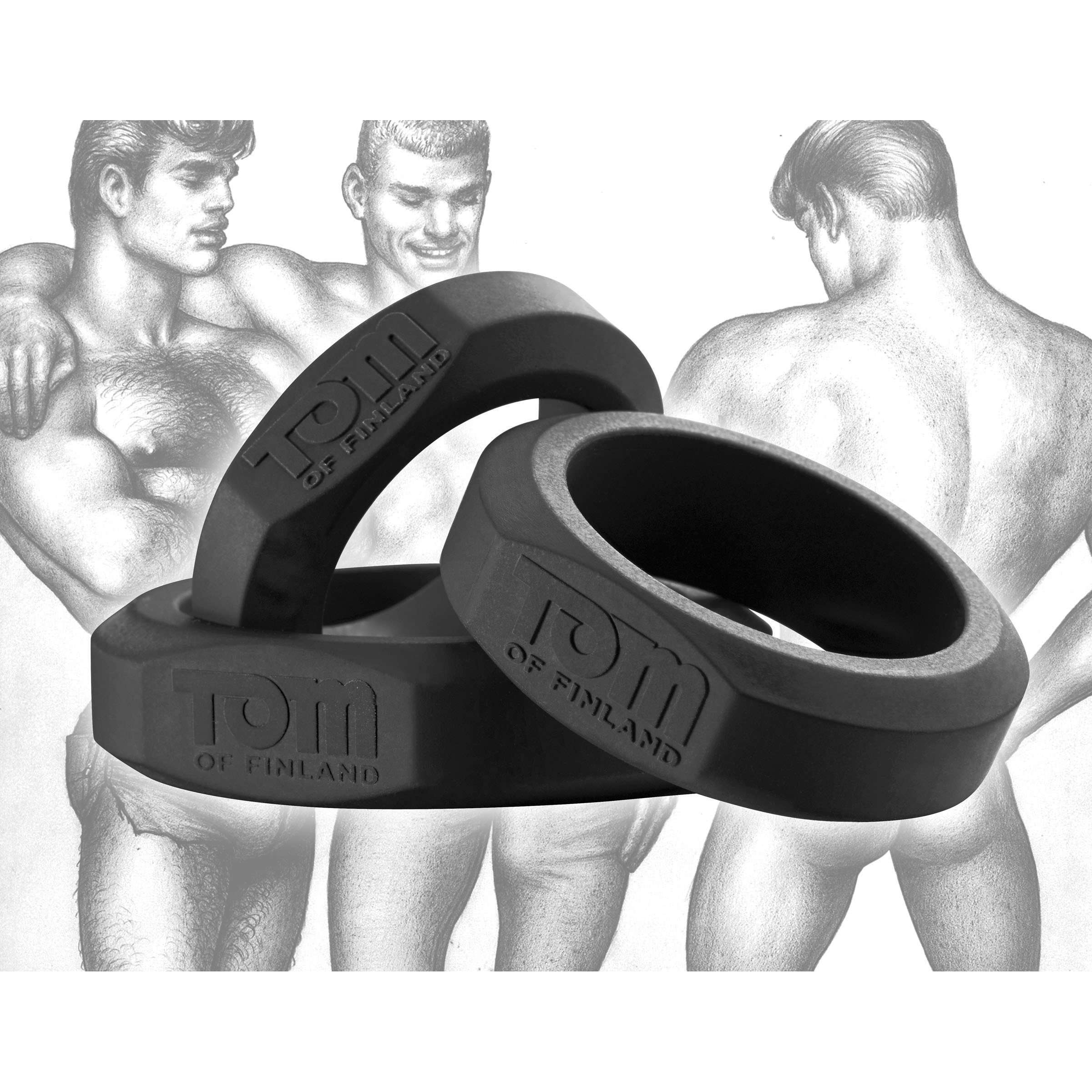 Tom of Finland 3 Piece Silicone Cock Ring Set - Black