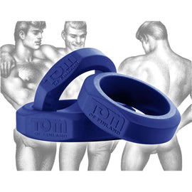 Tom of Finland 3 Piece Silicone Cock Ring Set - Blue