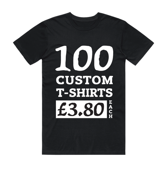 100 Black Custom Screen Printed T-Shirts (White Print)
