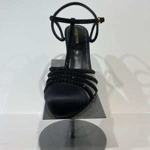 Black silk with heel with studs