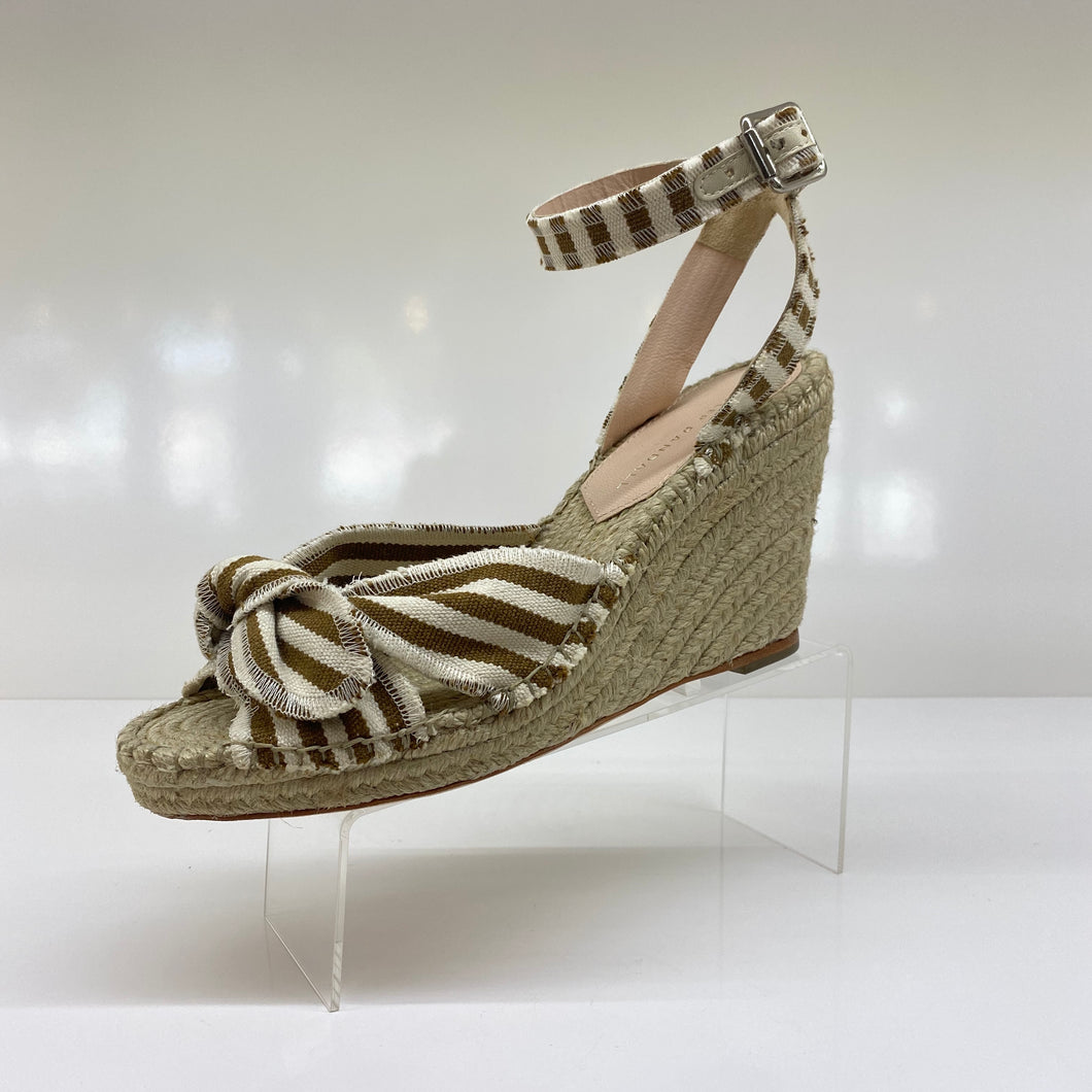 Tessa, tan stripped espadrille wedge