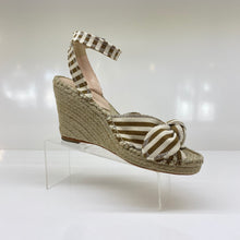 Load image into Gallery viewer, Tessa, tan stripped espadrille wedge