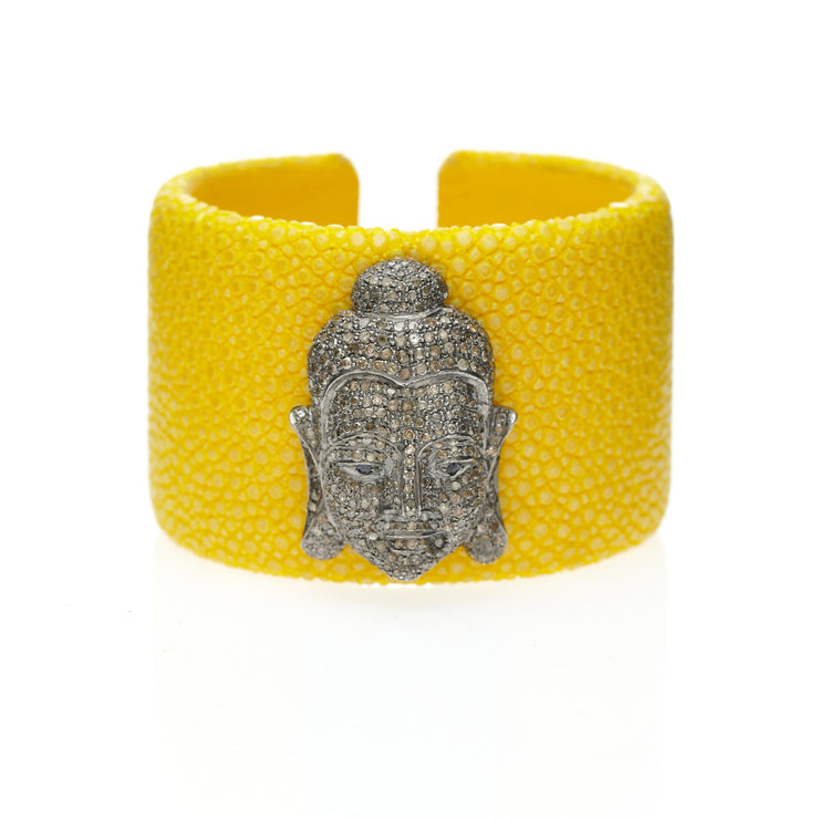 YELLOW SHAGREEN BUDDHA CUFF