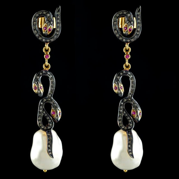 DIAMOND SERPENT AND BAROQUE PEARL EARRINGS