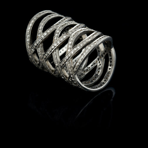 DIAMOND FISHNET WEAVE RING
