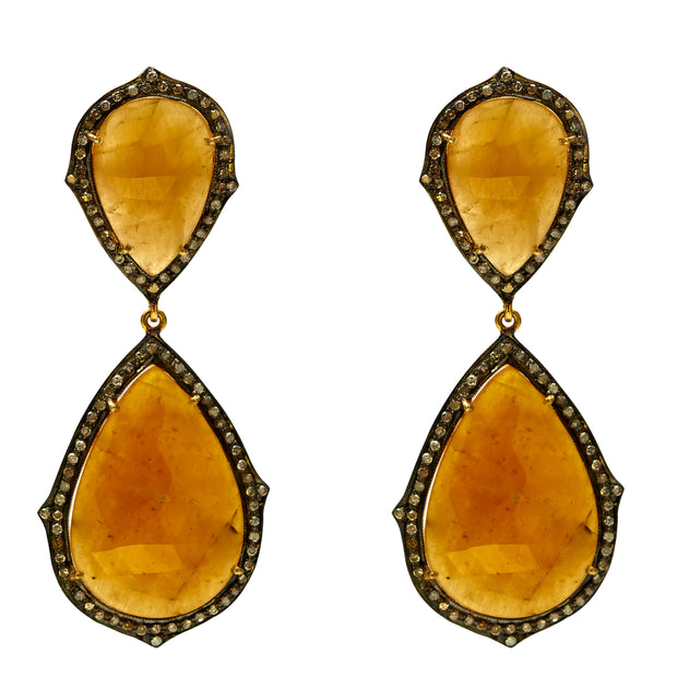 Madagascar Yellow Sapphire Pendant Earrings