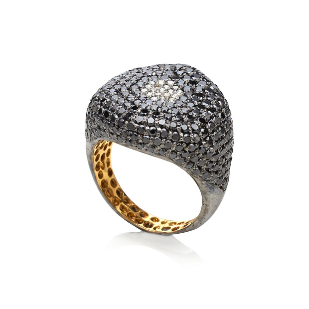 BLACK DIAMOND AND DIAMOND HEXAGON RING. SOLD . CAN BE MADE TO ORDER