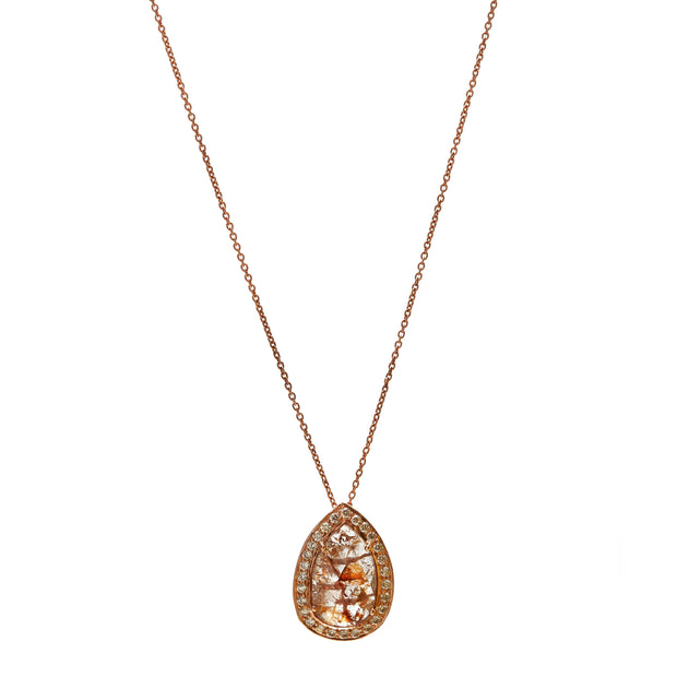 ROSE GOLD CHAIN WITH SLICED DIAMOND PENDANT.SOLD. PLS ENQUIRE FOR FURTHER STOCK .