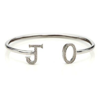 14 K GOLD RHODIUM PLATED BESPOKE INITIALS BANGLE
