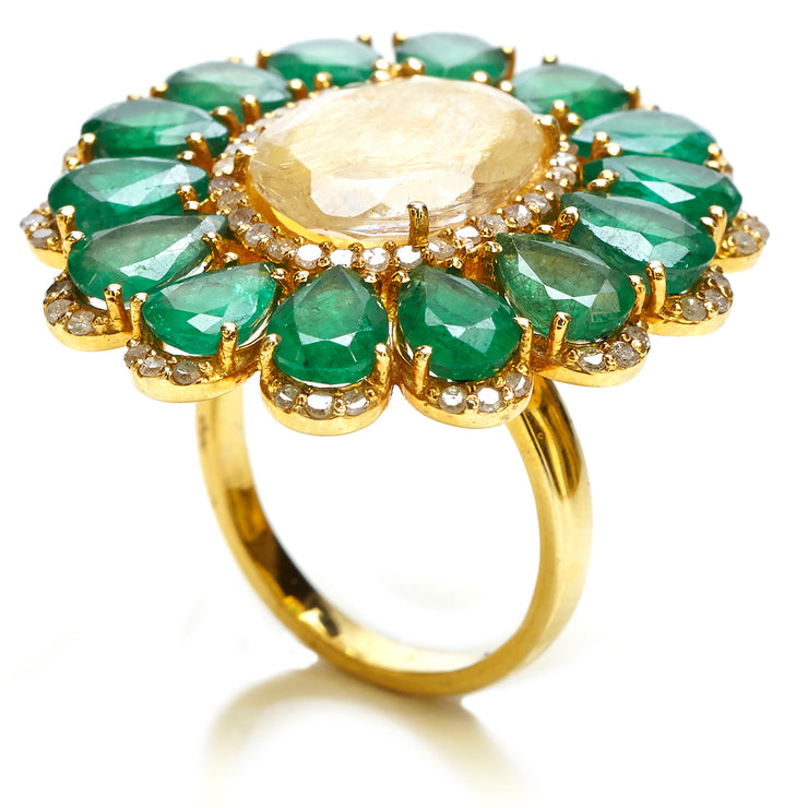 EMERALD AND YELLOW RUTILE FLOWER RING