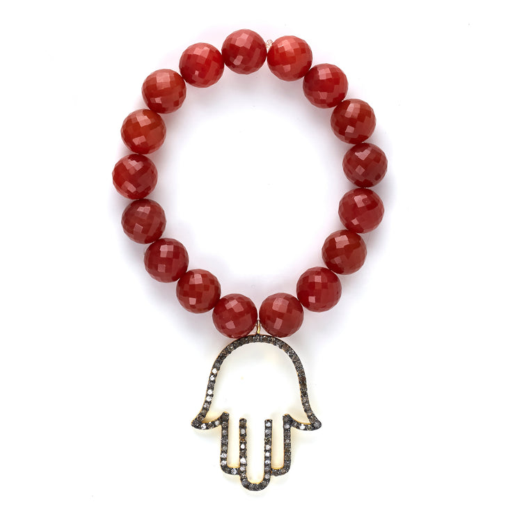 STRETCH CARNELIAN BRACELET WITH DIAMOND HAMSA HAND